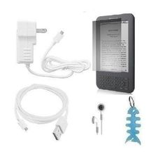 """Wall Charger + USB Data Cable + Headset + LCD Screen Protector + Light Blue Fishbone Style Keychain for Kindle 2, Kindle Wireless Reading Device and Kindle 3G Wireless Reading Device, Free 3G + Wi-Fi, 6"""" Display, Graphite, 3G Works Globally - Latest Generation by HappyZone. $7.99. This bundle includes one wall charger, one usb data cable, one headset, one LCD screen protector, one light blue fishbone style keychain"""