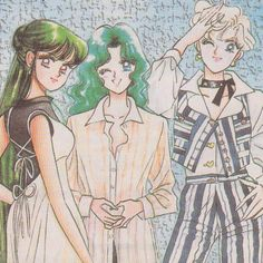 Sailor Moon, Neptune, Uranus, and Pluto!  The awesome scouts!
