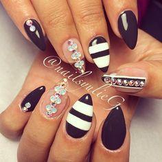 Dark Grey and White Glass Mini Almond Stiletto Nails