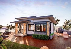 Stunning Three-bedroom Bungalow on a Platform with Extended Balcony - House And Decors Single Storey House Plans, One Storey House, Small House Plans, 3 Bedroom Bungalow, Modern Bungalow House, Small House Design, Modern House Design, House With Balcony, House Roof