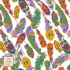 """PRESALE Kingfisher Feathers on White Cotton Jersey Blend Knit Fabric - Exclusive from the Girl Charlee Kingfisher collection!  Gorgeous multi color feathers in mustard, orchid purple, orange, sangria, teal blue, and forest green on our white signature cotton jersey blend knit.  Fabric is very soft and has a nice stretch and drape.  Largest feather measures about 6"""" long.  A versatile fabric that is great for many applications.  Made in Los Angeles!  ::  $6.50"""