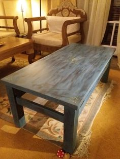 Table makeover with this beautiful blue!  #anniesloan #aubussonblue  #paintthemall   #the_toymaker_athens
