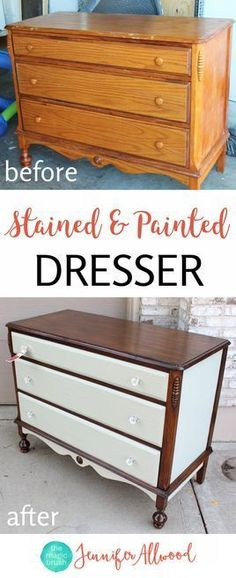 Stained and Painted Dresser - furniture, DIY, painting