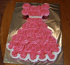 Pink Princess Cupcake dress Birthday cake but do blue for Elsa