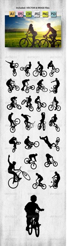 Bike Rider Silhouettes #graphicriver