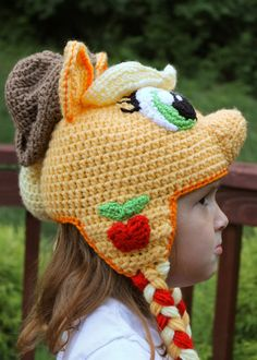 My Little Pony Costume Applejack Crochet Hat Pattern PDF Childrens Crochet Hats, Crochet Kids Hats, Crochet Girls, Crochet Lace Edging, Irish Crochet, Crochet Patterns, Crochet Pony, Crochet Beanie, Silly Hats