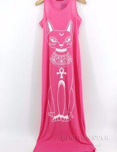 Casual Viscose Cat Print Tent Scoop Neck Maxi  Dress