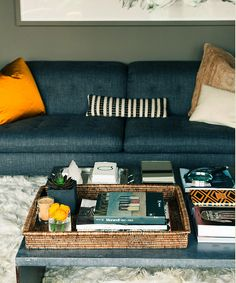 Graham Atkins Hughes via Atelier Abigail Ahern {blue, gray and gold living room}