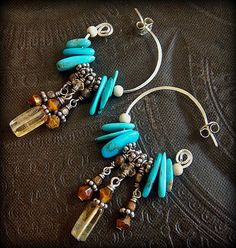 Sterling Hoops, Turquoise and Citrine Beaded Earrings. Gorgeous. Boho