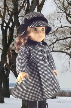 """Black and White Hounds-tooth Wool Coat and Hat for American Girl and 18"""" dolls on Etsy, $75.00"""