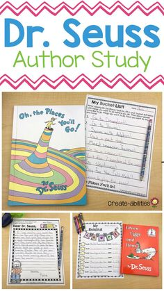 Dr. Seuss Author Study - Use this 47 page resource with your 2nd, 3rd, 4th, or 5th grade upper elementary or intermediate classroom or homeschool students. You get creative writing materials, information text reading passages, graphic organizers, activities, centers or stations, printables, a book report, compare and contrast, interactive notebook templates, biography activity, posters, bookmarks, reading certificate, and more. Great for Read Across America Week! {second, third, fourth, fifth} Dr Seuss Activities, 2nd Grade Activities, Writing Activities, Classroom Activities, Sequencing Activities, Dr Suess Books, Dr Seuss Week, Dr Seuss Author, Dr Seuss Crafts