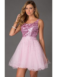 Boutique Scoop Straps Ruffles Short Sweet 16 / Prom Dress