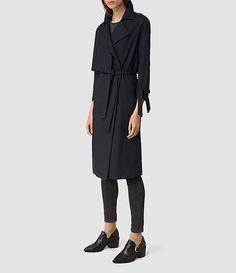 Women's Kiana Mac Coat (Ink Blue) - product_image_alt_text_3