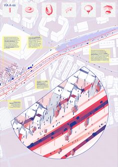VIA A66 - Space Popular's urban vision for the redevelopment of Highway A66 in Oviedo, Spain.Presentation Board 03. Design Team: Lara Lesmes, Fredrik Hellberg, Jariyaporn Prachasartta, Kanyaphorn Kaewprasert, Kornkamon Kaewprasert. www.spacepopular.com