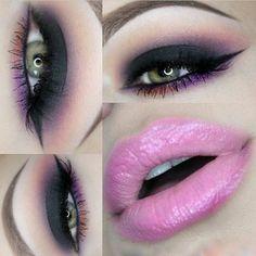 Sultry Eye Makeup & Pink Lips - #blackeyeshadow #purpleshadow #eyemakeup #makeup #colorfulshadow - bellashoot.com
