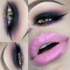 Sultry Eye Makeup & Pink Lips - #blackeyeshadow #purpleshadow #eyemakeup #makeup #colorfulshadow - bellashoot.com