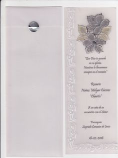 Recuerdo para misa de difunto, en pergamino, modelo marcalibro - Carolina Núñez Melgar