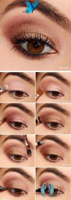 15 formas en las que puedes usar sombra rosa y verte increíble Makeup en oro rosa<br> No vas a poder resistirte a estas combinaciones de maquillaje. Rose Gold Eyeshadow, Bronze Eyeshadow, Colorful Eyeshadow, Natural Eyeshadow, Smokey Eye Makeup, Makeup Eyeshadow, Eyeshadow Tips, Makeup Brushes, Brown Makeup