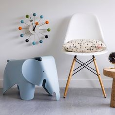 Ball Clock by George Nelson, Elephant & Plastic Chair by Charles & Ray Eames, all designed for Vitra,  Get The Originals at www.2ndfloor.gr