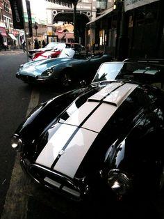AC Cobra, Jaguar Type E, Porsche 911, Aston Martin
