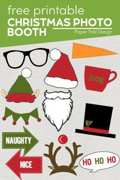 Free Christmas Photo Booth Props Printable - Paper Trail Design