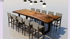 Large preview of 3D Model of Reclaimed Raw Wood Table