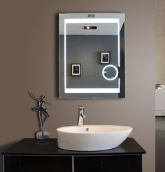 Paris Mirror Aurora Illuminated LED Bathroom Mirror with Magnification Circle -- Details can be found by clicking on the image. (This is an affiliate link and I receive a commission for the sales) Backlit Bathroom Mirror, Mirror Tv, Master Bathroom, Mirror Glass, Window Glass Design, Cheap Bathtubs, Mirror With Lights, Lighted Mirror, Electric Mirror