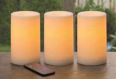 """3/"""" x 5/"""" Red Indoor//Outdoor Plastic Pillar LED Candle ~ NEW"""