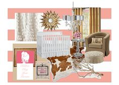 rustic glamour girl's nursery, wouldn't do the walls in pink, maybe tan, but I love everything else especially the sunburst mirror and cowhide rug.