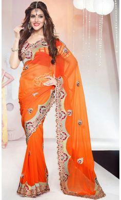 Attractive Deep Orange Embroidered Saree #Bollywood-Replica-Sarees #Shopping-Saree-Online