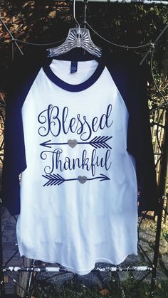 Thankful Blessed Arrow Thanksgiving Message Women Teen Junior Tween Girl Raglan Baseball Tee Tshirt T-shirt by GracieGirl722 on Etsy