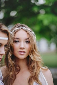 soft waves and a delicate beaded bridal hairband