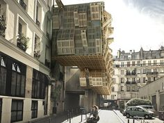 Cool facade features movable modular skin of recycled pallets