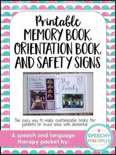 Memory And Orientation Books Therapy Pinterest