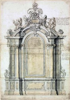 Roman School. Design for an elaborate arched baroque altar, flanked by Corinthian columns and pilasters, extensively inscribed with directions for the sculptors c. 1720.
