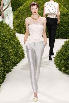 Christian Dior Spring 2013 Couture    Thinking the pink stripe down the leg is rather cool.