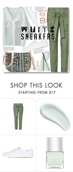 """""""Bright White Sneakers (casual)"""" by beebeely-look ❤ liked on Polyvore featuring sass & bide, Omorovicza, Topshop, Nails Inc., Origins, casual, casualoutfit, sammydress, whiteblouse and whitesneakers"""