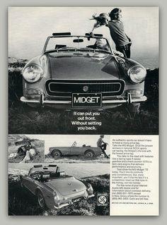 MG Midget sports car vintage magazine ad by catchingcanaries