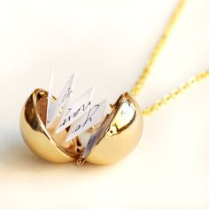 Secret Message Necklaces, golden Ball Locket Necklace, custome message, Personalized Locket Necklace, mom Jewelry, from YesOrNoDesign on Etsy