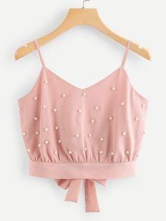 75938e96cb27e Pearl Beaded Split Tie Back Crop Cami Top -SheIn(Sheinside) Cami Top Outfit