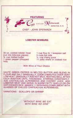 Cy's Seafood Restaurant Old Favorite Recipes - Page 1