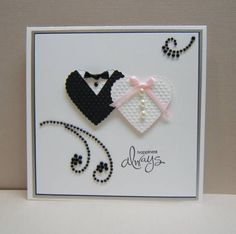 bride and groom heart card