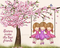 Cherry blossom kids art posterSisters make the best friends