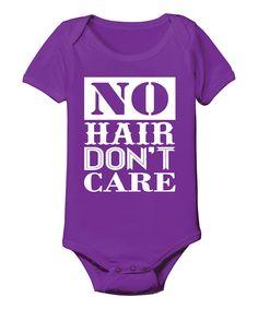 Purple 'No Hair Don't Care' Bodysuit - Infant