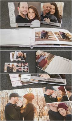 Wedding photography packaging and products | engagement guestbook photo album with layflat pages perfect for writing from Woods Photography in Medicine Hat, AB (CANADA). #guestbook #photobook #engagementphotos