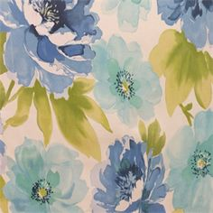 Malicent Azure Blue Floral Cotton Drapery Fabric by Richloom - SW51342 - Fabric By The Yard At Discount Prices