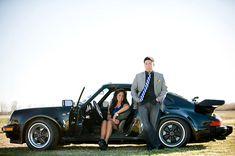car engagement photography pose