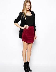 ASOS Mini Skirt with Curved Hem in Texture