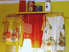 vintage apron window valance Creative Ways To Display A Vintage Apron Collection