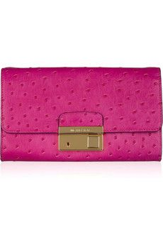 michael kors gia ostrich-effect leather clutch. $450